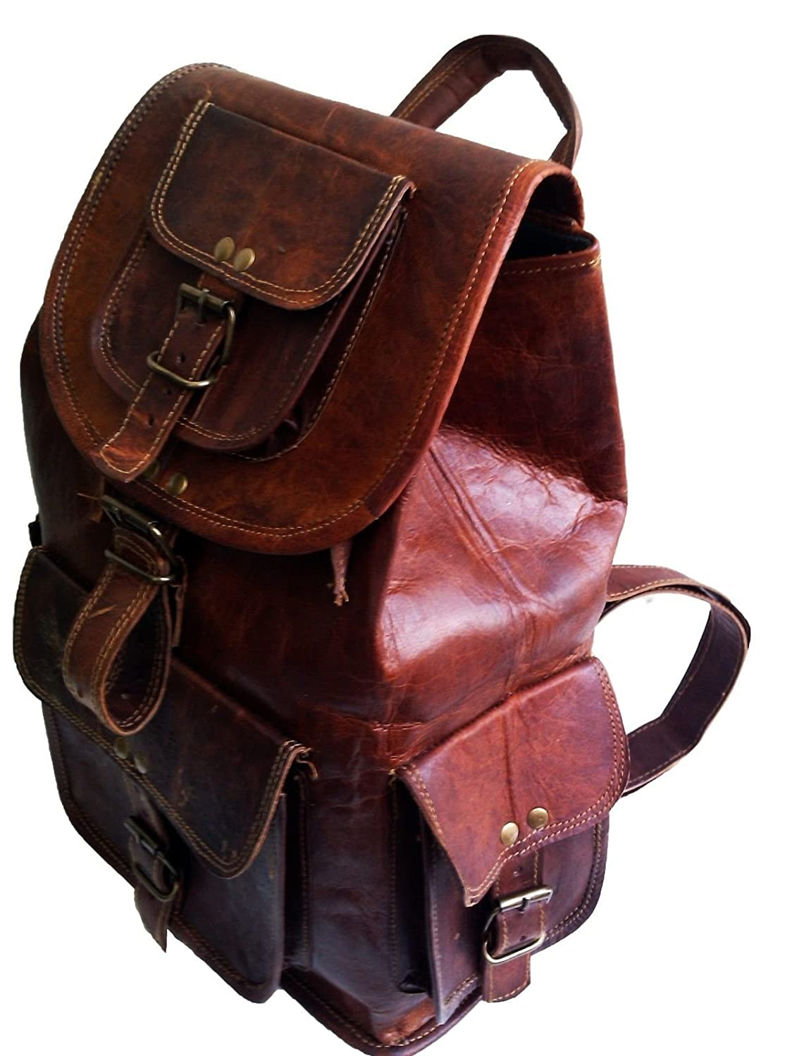 Amazon 16 Genuine Leather Retro Rucksack Backpack College Bagschool Picnic Bag Travel Sports Outdoors