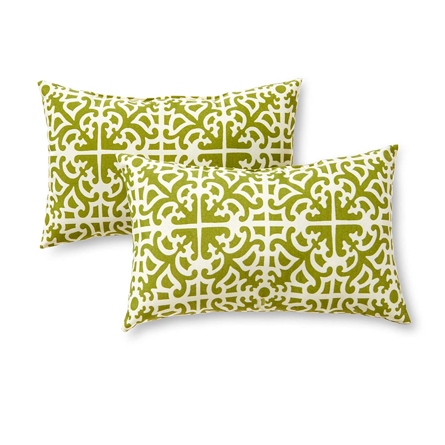 Greendale Home Fashions Rectangle Outdoor Accent Pillow (set of 2), Grass (Renewed)