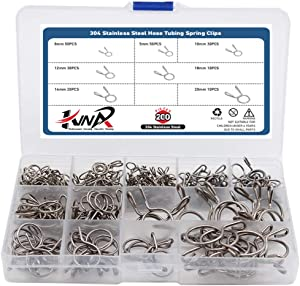 200Pcs 304 Stainless Steel Hose Tubing Spring Clips Quick Fitting Hose Water Pipe Tubing Spring Clamps Assortment Kit 7 Sizes