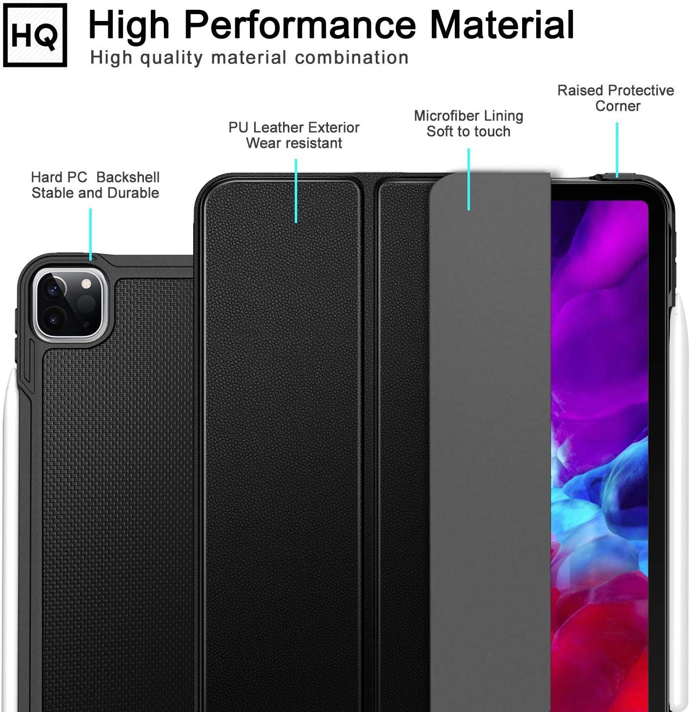 ZtotopCase H/ülle f/ür iPad Pro 12.9 2020 ,Ultrad/ünne Leicht PU Leder Smart H/ülle mit PC R/ückseite Abdeckung,Unterst/ützt Das Aufladen des iPad Pencil,f/ür iPad Pro 12.9 Zoll 2020,Schwarz 4. Generation