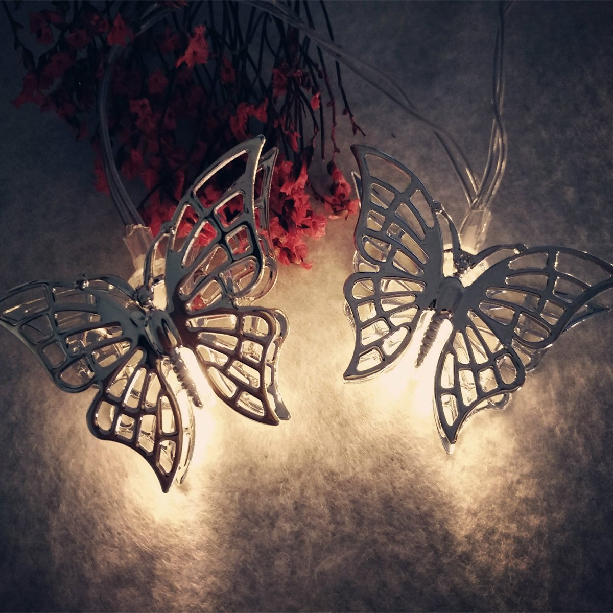 fantastic me 10ft 20 LED Iron Butterfly Fairy String Lights Night Lamp-Battery Powered-Decoration for Home Bedroom Kids Nursery Room Christmas Tree Wedding Party Garden by fantastic me (Image #5)