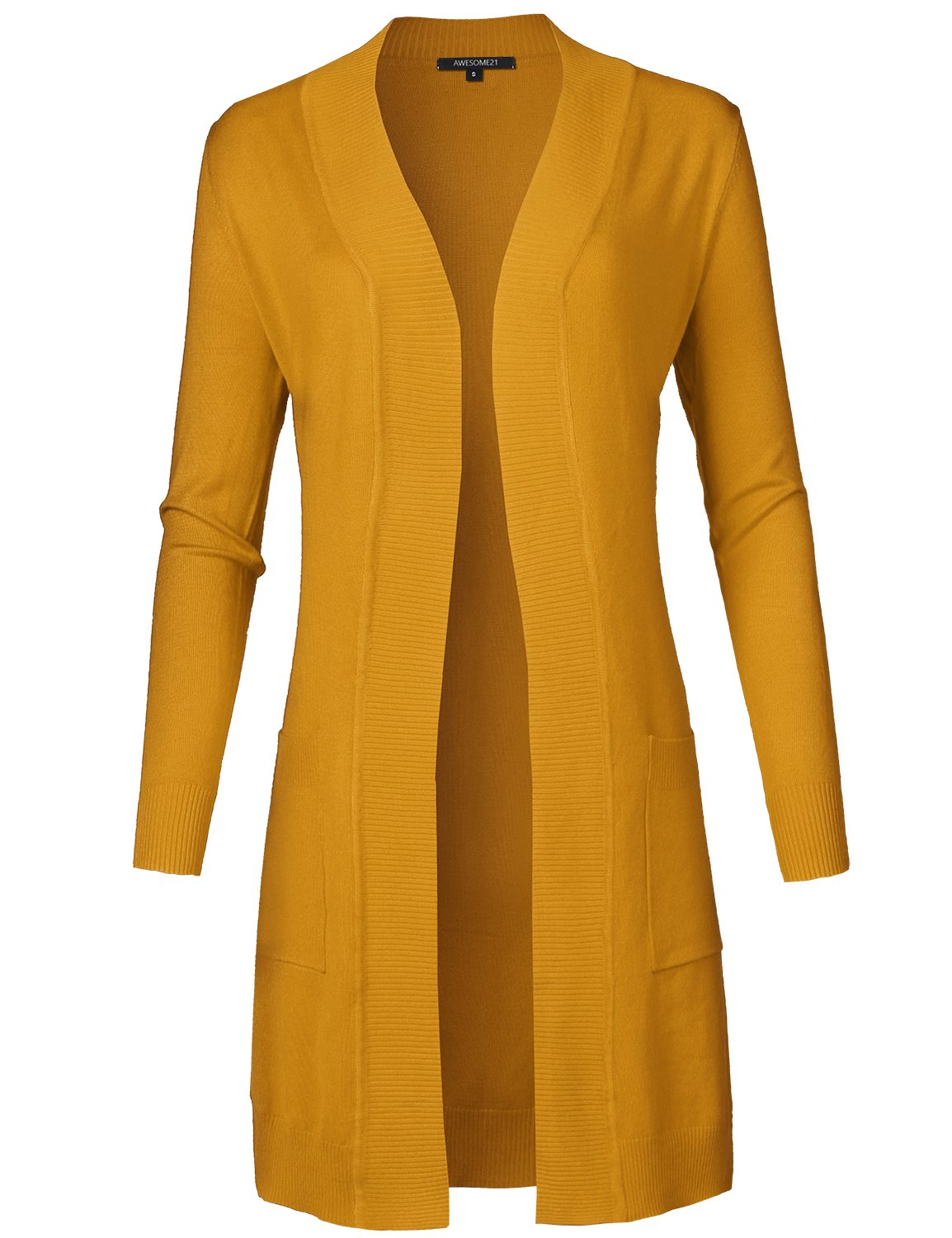 Awesome21 Solid Soft Stretch Longline Long Sleeve Open Front Knit Cardigan Mustard Size M