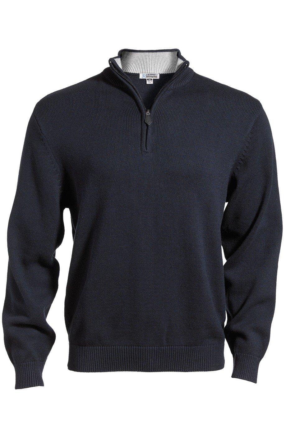 Edwards Garment Men's Quarter-Zip Cotton Blend Sweater, Navy, Large