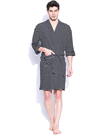 Sand Dune - Black Color Mens 100% Terry Cotton Bathrobe Gown - Full Sleeve  Knee 2356f3d28