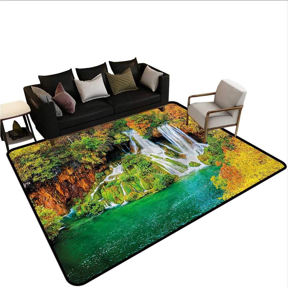 """Nature,Floor mats for Kids 48""""x 60"""" Waterfall Flowing Down Rocks Rubber mat"""