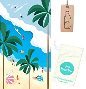 SOMERSIDE Sustainable Sand-Free Microfibre Towel for Beach, Travel, Yoga, Outdoors. Large (63x35) Quick Dry Eco Towels Made from Recycled Plastic Bottles w/Hidden Zip Pocket (Beach Daze)