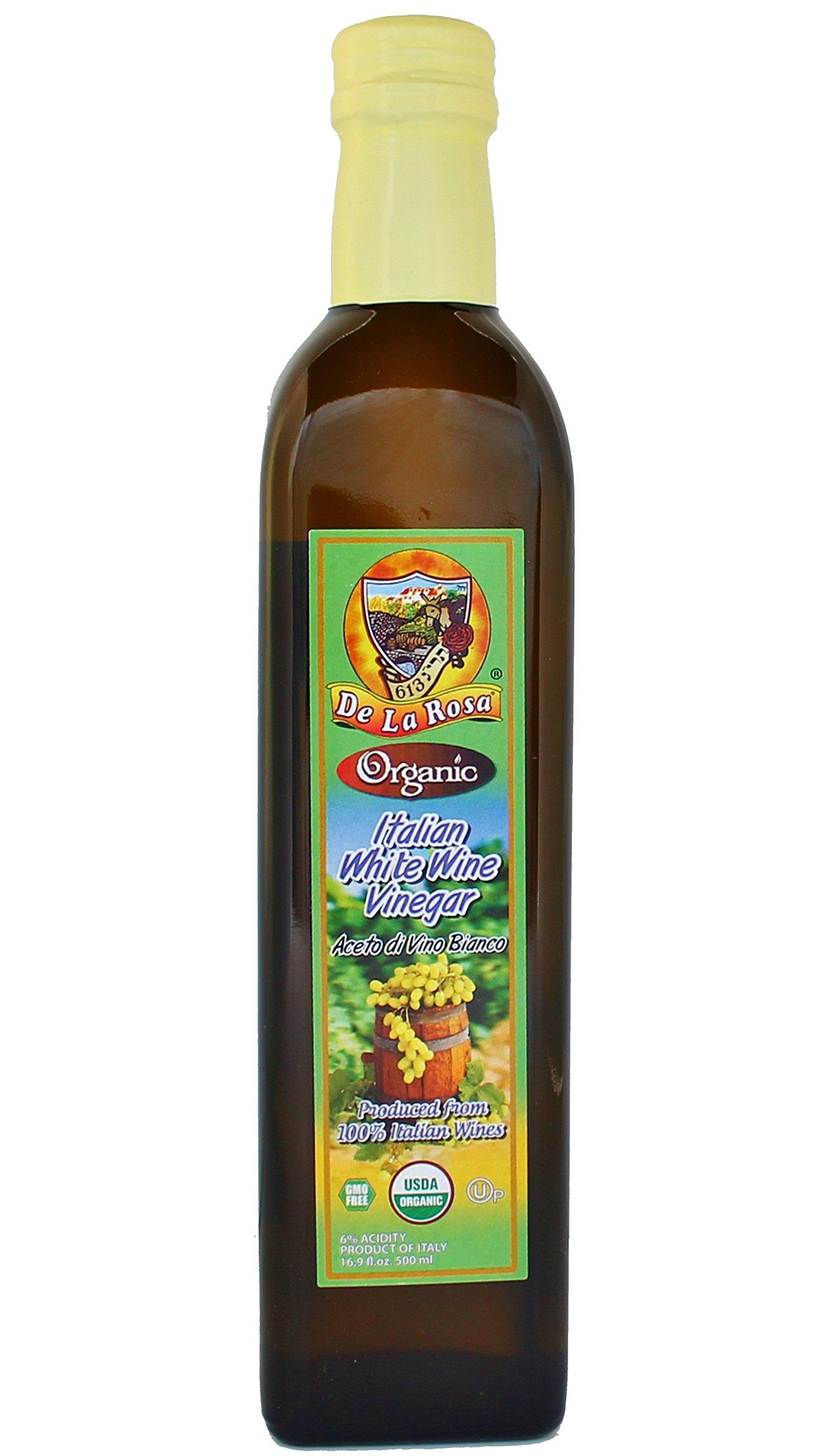 De La Rosa Real Foods & Vineyards - Organic Italian White Wine Vinegar (16.9 oz/500 ml)