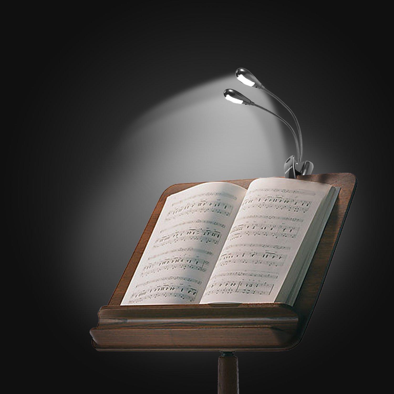 led reading lamp showpin night clip book light dual head
