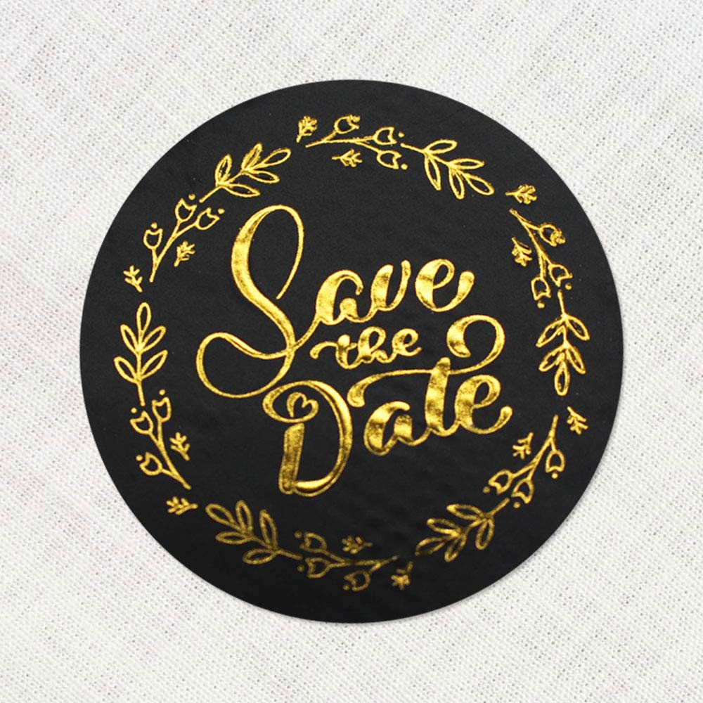 100 x Save the Date Labels Real Gold Foil Embossed Metal Stickers Party Invitation Stickers Round Self Adhesive Vinyl Black and Gold Labels 1.6 inch