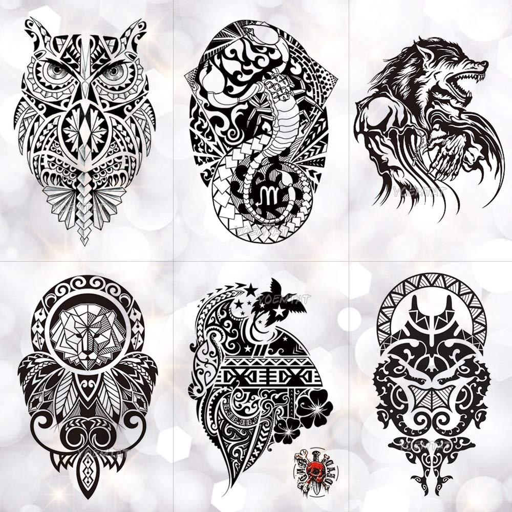 BRT Tribal Lobo Luna Pino Temporal Tatuaje Pegatina Fox ...