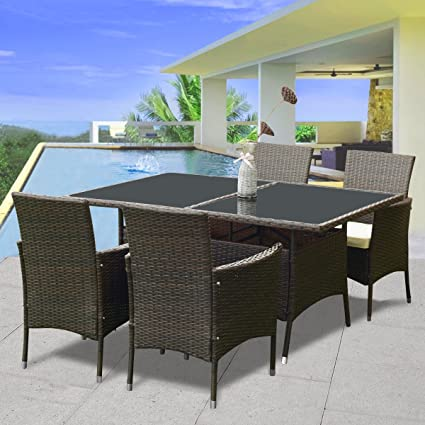Bon Tangkula Wicker Dining Set 5 Piece Outdoor Patio Furniture Set Wicker  Rattan Table And Chairs Set