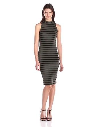ec23b303ae Amazon.com  Monrow Women s Sleeveless Stripe Turtleneck Dress