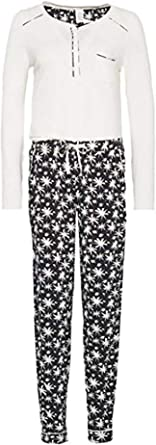 Calvin Klein - Pijama para mujer, color blanco roto y negro ...