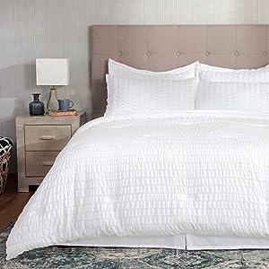 Bedsure Bed in A Bag White 8 Pieces, Seersucker Bedding Set for Women Full/Queen (1 Down Alternative Comforter, 2 Shams, 1 Flat Sheet, 1 Deep Pocket Fitted Sheet, 1 Bed Skirt, 2 Pillowcases)