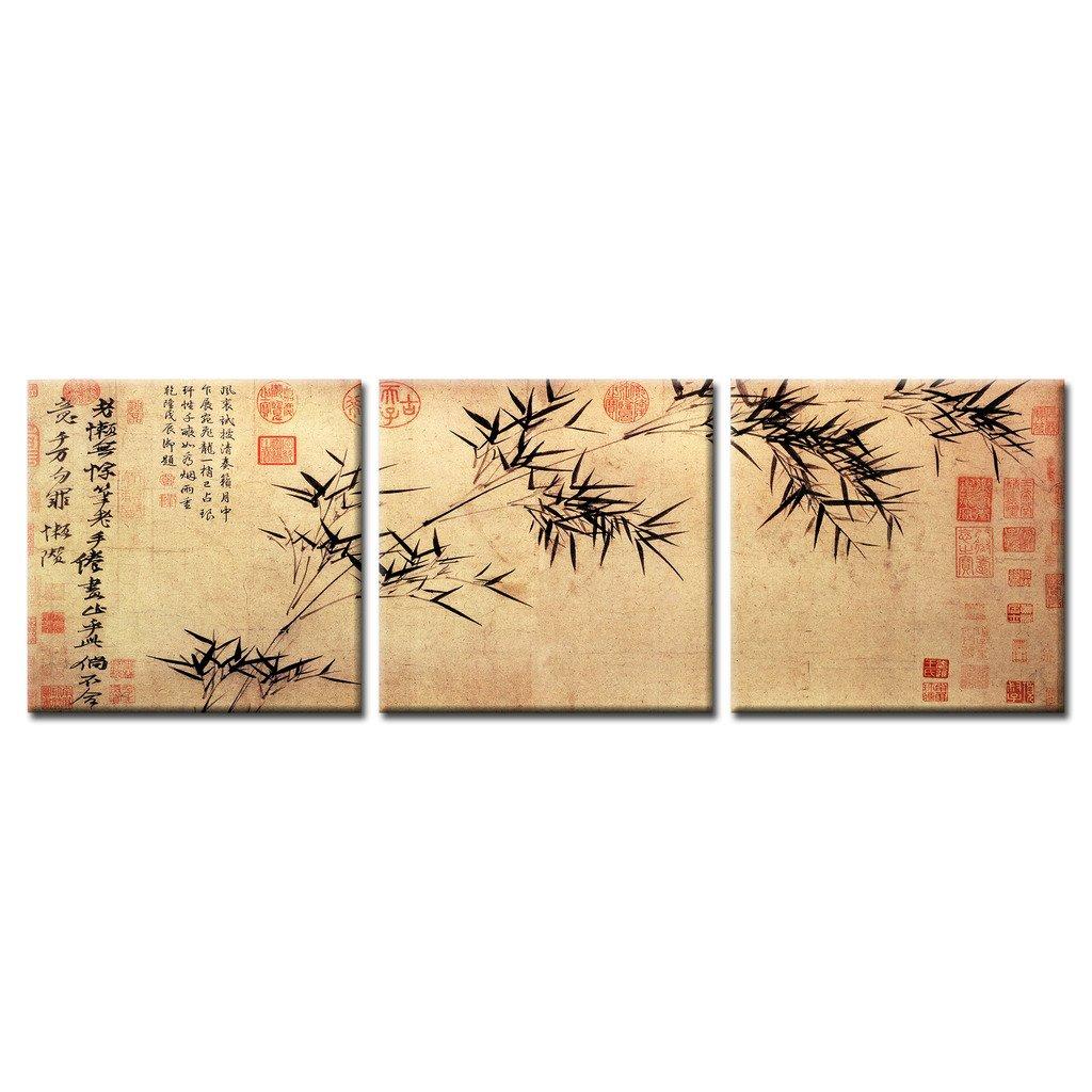 Amazon.com: KuyiArt- 3 Panels Canvas Wall Art, Chinese Painting ...