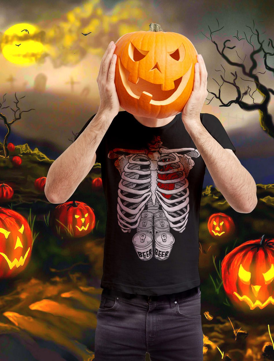 57659f7812cc3 Halloween Skeleton Six Pack Beer Abs Xray Funny Costume T-Shirt < Shops <  Clothing, Shoes & Jewelry - tibs