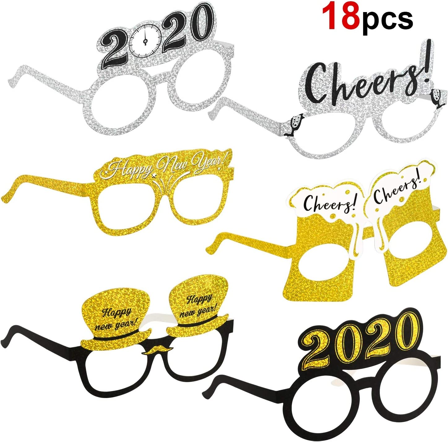 9PCS New Year Glasses Novelty Funny Favors for Cosplay Carnival 2020 New Year
