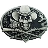 QUKE Western Cowboy Skull with Rifles Guns Belt Buckle