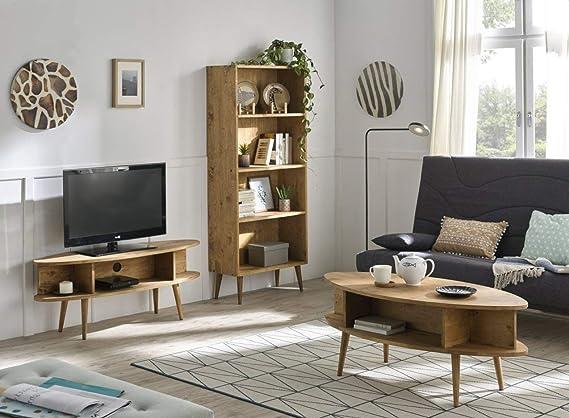 HOGAR24 ES- Conjunto salón - Mueble TV + Mesa Centro salón Ovalada + estantería diseño Vintage con estantes Acabado Madera Maciza Natural Encerado.: Amazon.es: Hogar