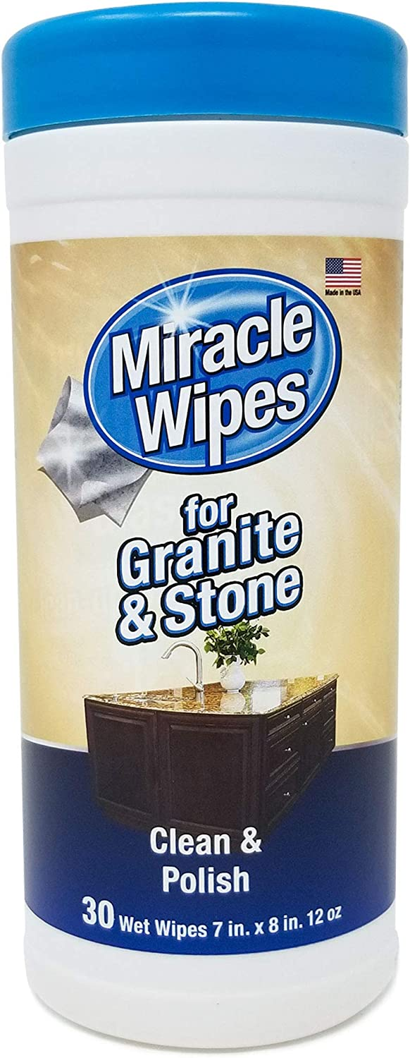 MiracleWipes for Granite & Stone - Clean, Protect, and Polish Countertops and Stone Surfaces - Kitchen and Bathroom Cleaning Support - (30 Count)