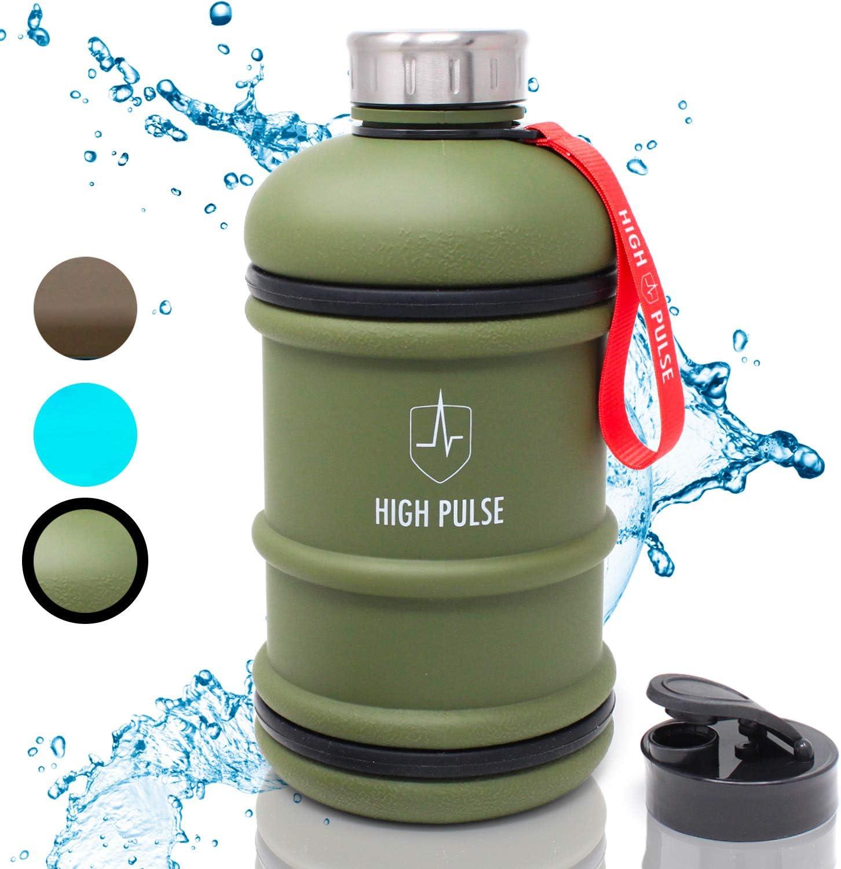 High Pulse® Botella de agua deportiva (2L │ Verde) – Botella de agua para gimnasio con asa y bandas de silicon antigoteo