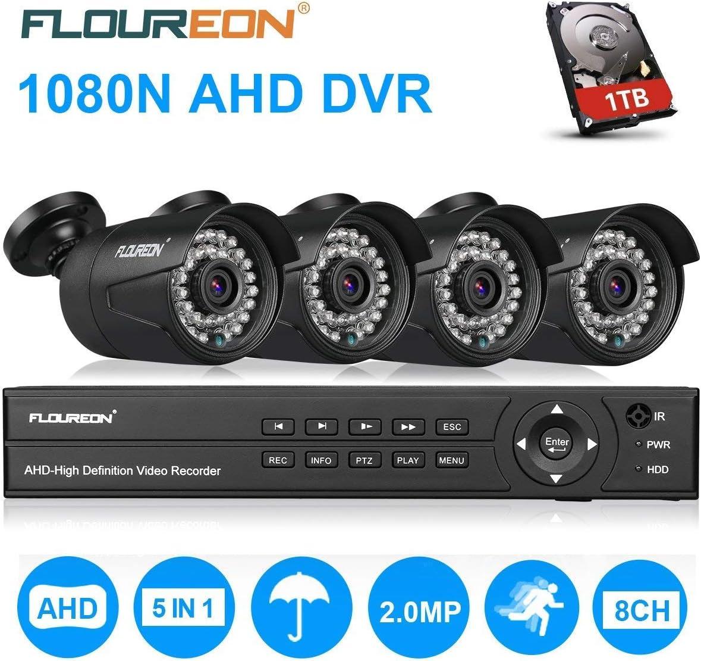 FLOUREON Motion Detection 1080P 1080N CCTV Security Video Recorder Cloud DVR EU