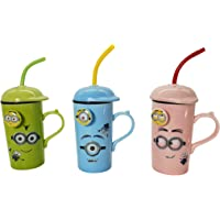 MY PARTY SUPPLIERS Minions Cup Set with Lid and Spoon / Minions Birthday Gift / Ceramic Minion Milk Mug / Minions Gift - Random Colors ( 1 pcs)