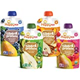 Happy Tot Organics Fiber & Protein Stage 4, 4 Flavor Variety Pack, 4 Ounce Pouch (Pack of 16)