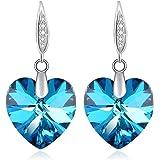 Heart Drop Dangle Earrings Swarovski Crystal Woman Birthstone Fashion Jewelry Purple Blue Earrings