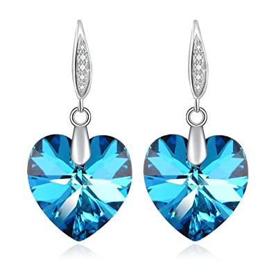 Heart Earrings Valentine's Day Gifts for Woman with Swarovski Crystal Birthstone Jewellery Ocean Blue ODrYUH