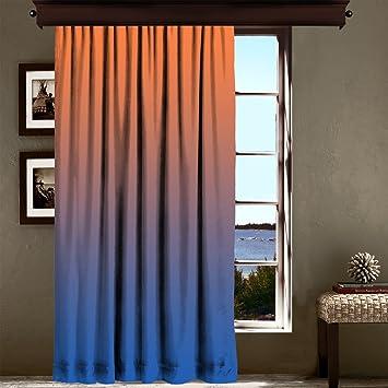 Rideau Occultant Orange Et Bleu Degrade Multicolore 140 X 180 Cm