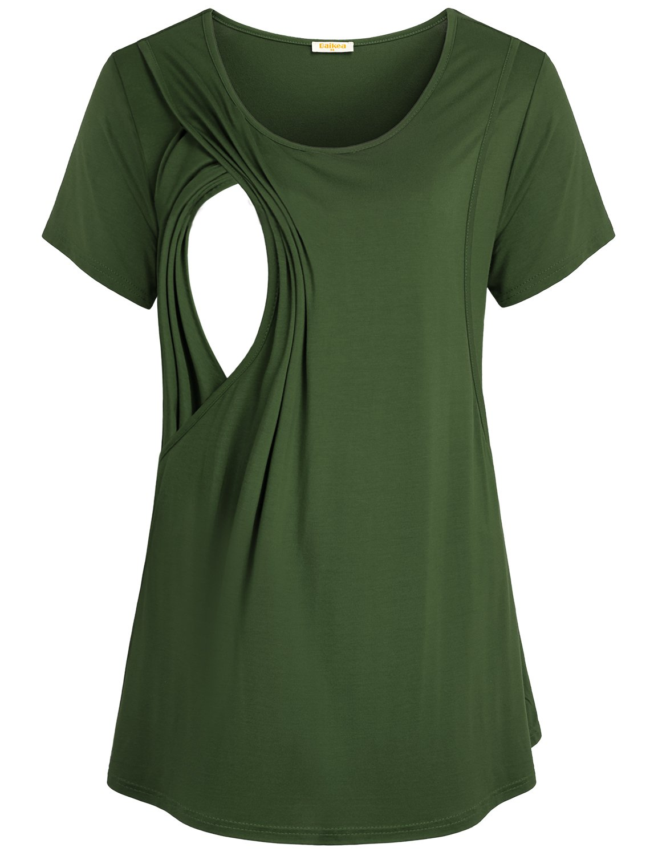 Baikea Women's Green Comfy Loose Breastfeeding Shirt Short Sleeve Plain Maternity Nursing Tops Daily Wear XL