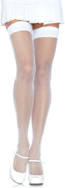 Leg Avenue Women's Nylon Fishnet Thigh Highs, White, One Size: Leg Avenue: Clothing