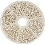 PandaHall Elite Split Rings Jump Ring 4-10mm Silver Color 1 Box for Jewelry Making