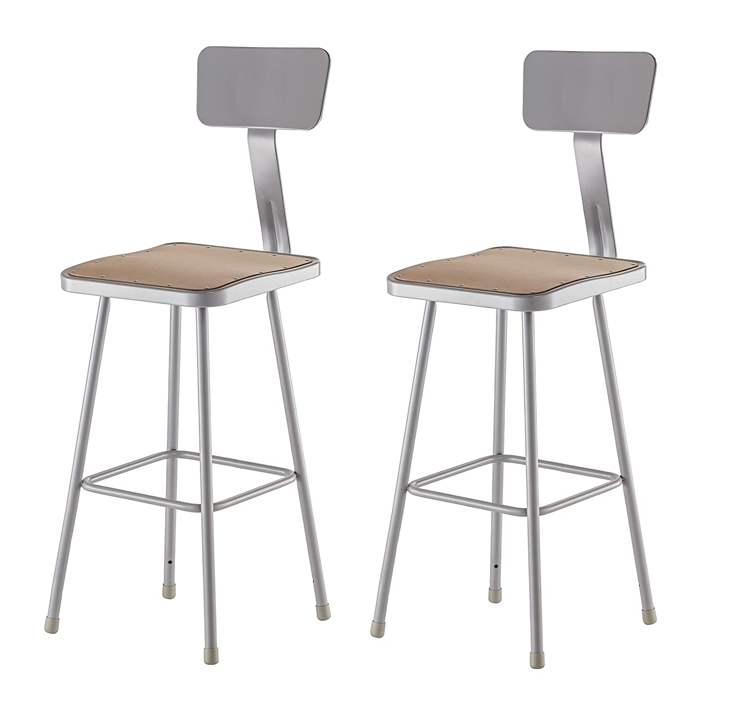 National Public Seating 6330B CN Grey Steel Stool with 30 Square Hardboard Seat and Backrest Pack of 2