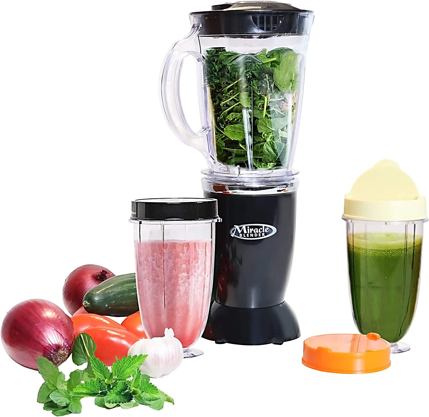 Total Chef 12-Piece Set Miracle Blender - Countertop & Portable Blender, Easy Ice Crushing for Shakes & Smoothies, Recipe Guide Included, Dishwasher Safe, 60 Watts.