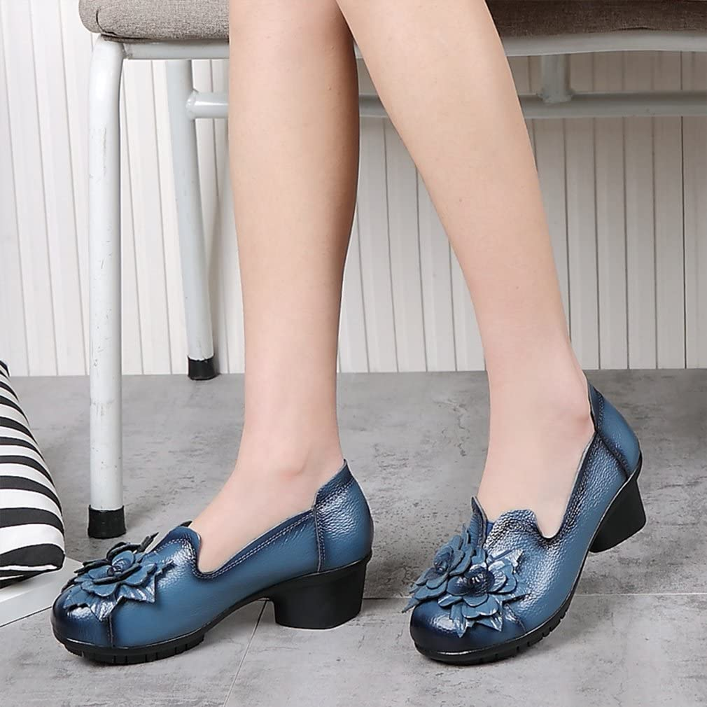 Kyle Walsh Pa Women Retro Round Toe Mid Heel Handmade Flower Soft Shoes Blue