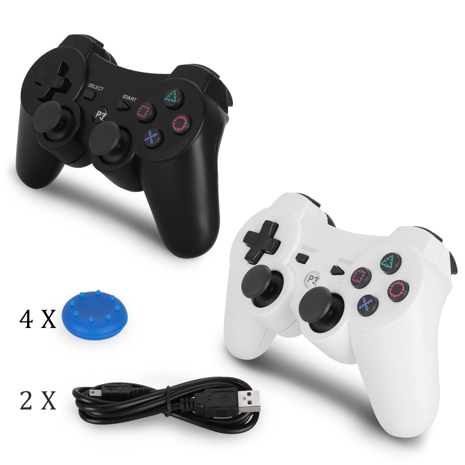 PS3 Controller Wireless 2 Pack - Dualshock 3 Games Remote for Playstation 3,Cheap DS3 Joystick with Sixaxis,Mini USB Charger Cable(White+Black)