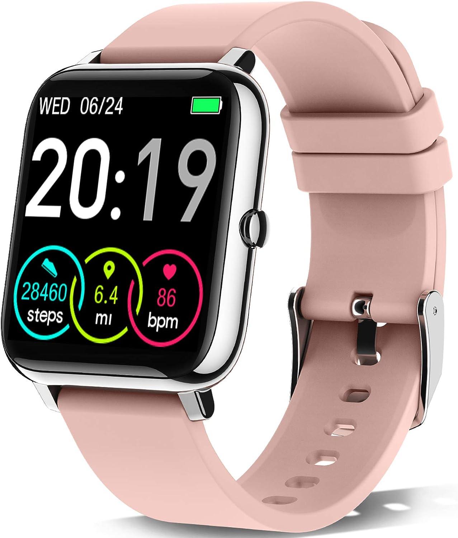 """Motast Smartwatch, Reloj Inteligente Mujer Pantalla TFT de 1,4"""", Pulsera Actividad con Monitor de Sueño Contador, Pulsómetro, Calorías Podómetro, Fotografía Remota, IP67 Impermeable, Rosa"""