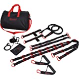 Marcy Unisex Cross Fit Suspension Trainer with Strap Handles/Olympic Rings and Foot Loops, Black/Red, One Size