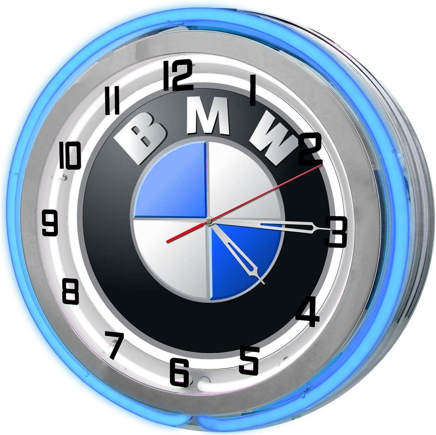"""Redeye Laserworks BMW 18"""" Blue Double Neon Garage Clock from"""