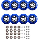 Rollerex VXT500 Inline Skate Wheels (8 Wheels w/Bearings, spacers and washers)