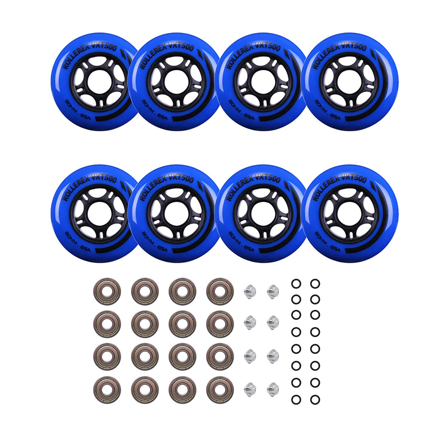 Rollerex Inline Skate Wheels VXT500 80mm (8-Pack or 2-Pack or 2 Wheels w/Bearings, Spacers and Washers) (80mm Deep Sea Blue (8 Wheels w/Bearings, spacers and washers)) by Rollerex