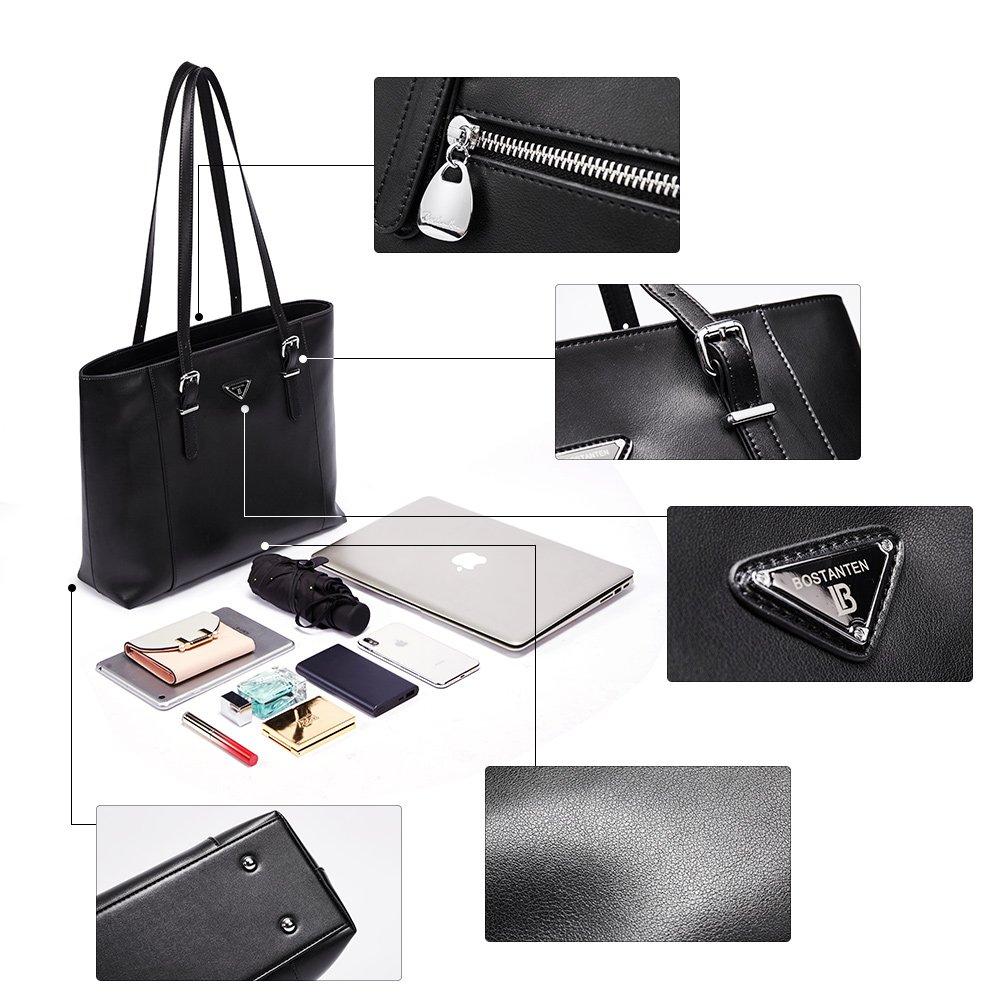 BOSTANTEN Women Briefcase Leather Laptop Tote Handbags 15.6 Computer Shoulder Bags Black
