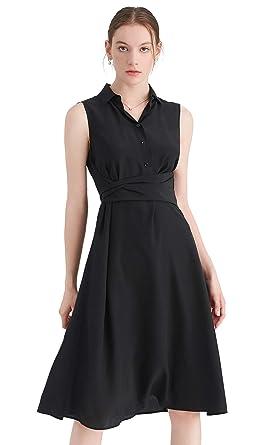 LilySilk Silk Shirt Dress for Women Body-Flattering Belt with Long  Sleeveless Tunic Evening Party 2a9a0fab9642