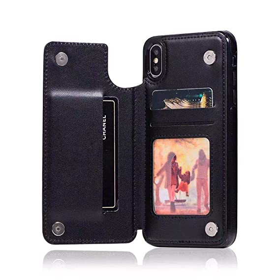 hot sale online 1edfa 02e4f for iPhone Xs Max Wallet Case,Creck Premium PU Leather Cellphone Case  Ultra-Strong Magnetic with 3 Card Slots for iPhone Xs Max 6.5 inch (Black)