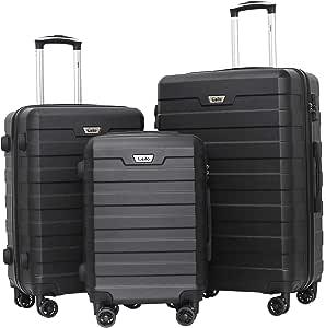 Ceilo 3 Piece Hardside Luggage Set With TSA Lock Aluminum Handle Suitcase Spinner Double Wheels,Black, 3-piece Set (20/24/28)