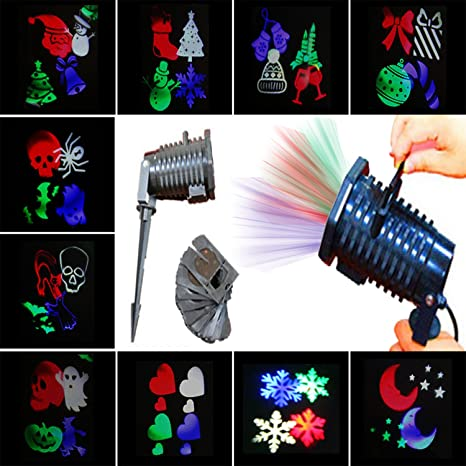 Christmas Lights Projector 10 Piece Pattern Multicolor Rotating