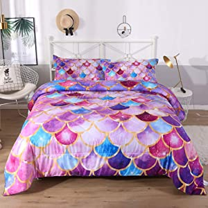 ENCOFT 3D Princess Design Comforter Sets Twin/Full/Queen 3 Pieces for Teen Girls, Tencel Cotton Light Purple Princess Comforter Bedding Sets 1 Comforter, 2 Pillowcases