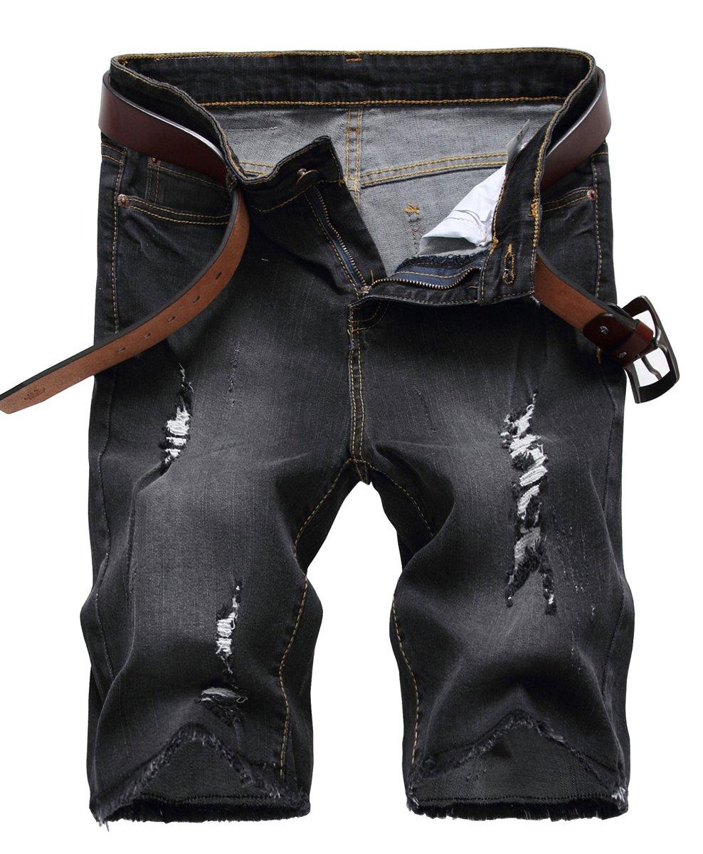 NITAGUT Men's Fashion Ripped Short Jeans Slim Fit Denim Short